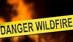 Sign that read danger wildfires