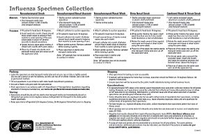 Influenza Specimen Collection Desk Reference Guide