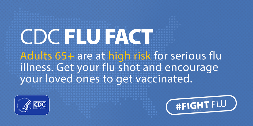 #Fight Flu: Adults over age 65 are at high risk for serious flu illness.
