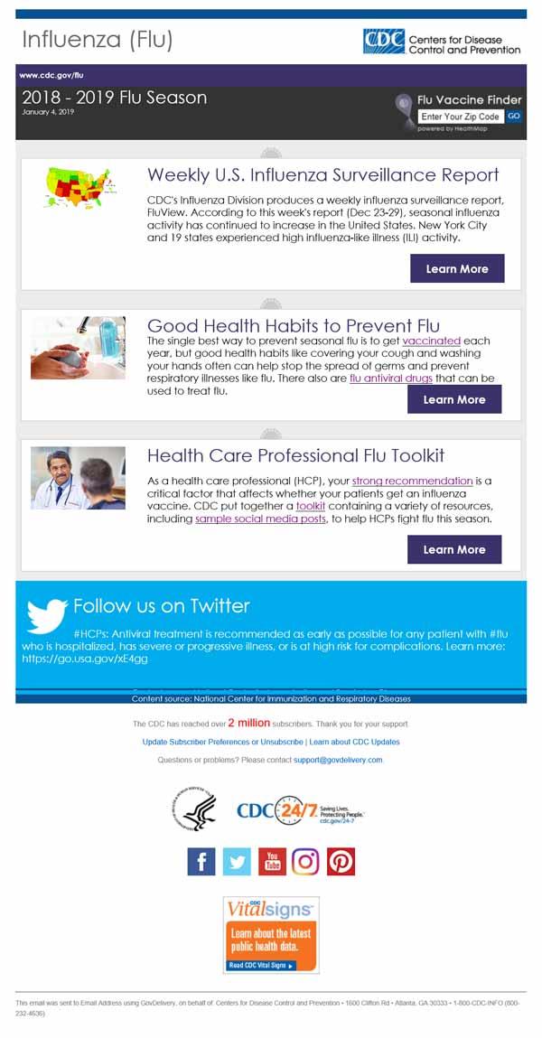 actualización semanal por correo electrónico sobre la influenza