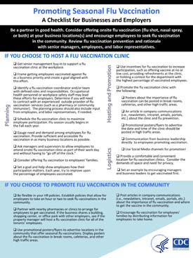 Promoting Seasonal Flu Vaccination: A Checklist for Businesses and Employers