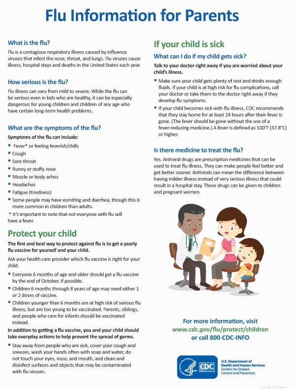 La influenza: una guía para los padres - Hoja de actividad