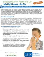 Everyday preventive actions that help fight germs, like flu