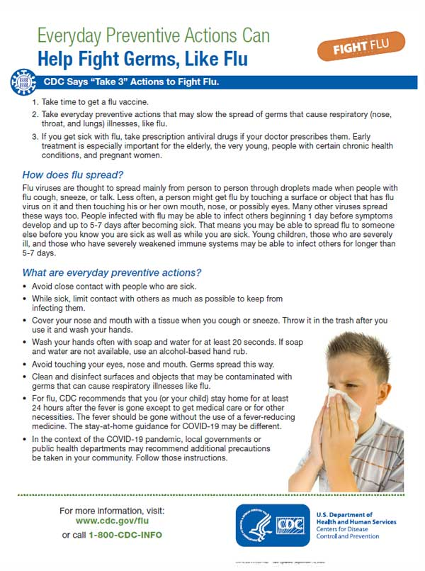Everyday Preventive Actions that Can Help Fight Germs, Like Flu