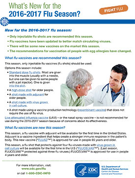 Whats New for the 2016-2017 Flu Season