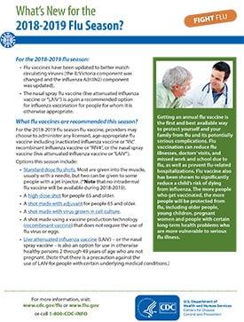 hoja informativa: lo nuevo para la temporada de influenza 2018-2019