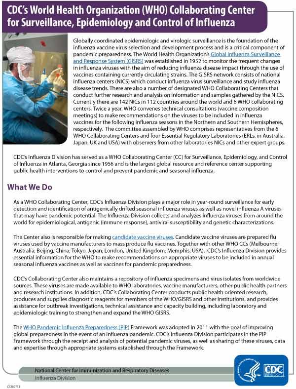 Centro de colaboración de la Organización Mundial de la Salud de los CDC