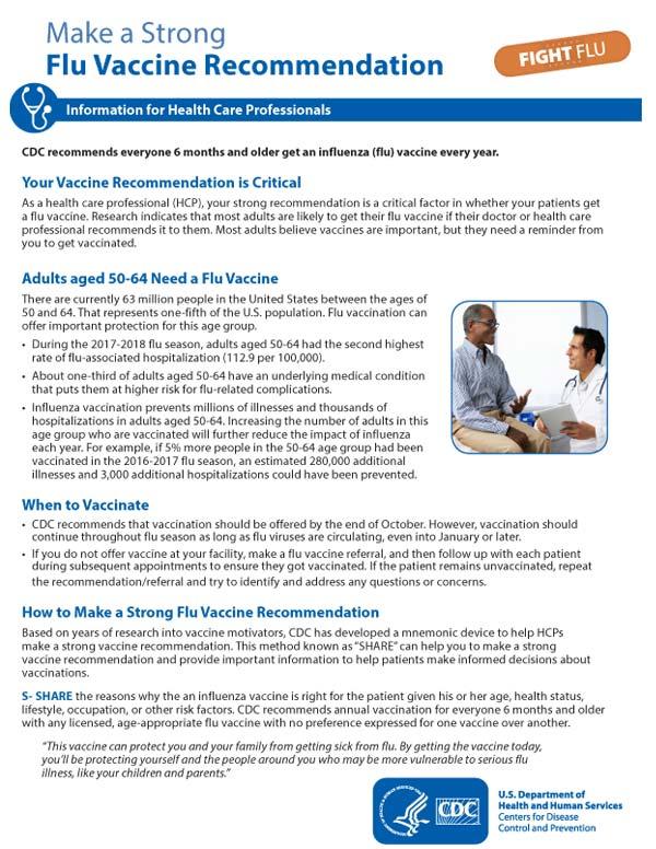Recomendar firmemente que se vacunen contra la influenza (50-64 años de edad)