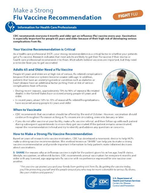 Recomendar firmemente que se vacunen contra la influenza (Para más de65 años)