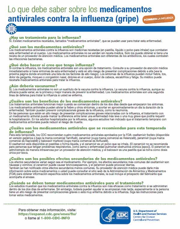 Medicamentos Antivirales Contra la Influenza