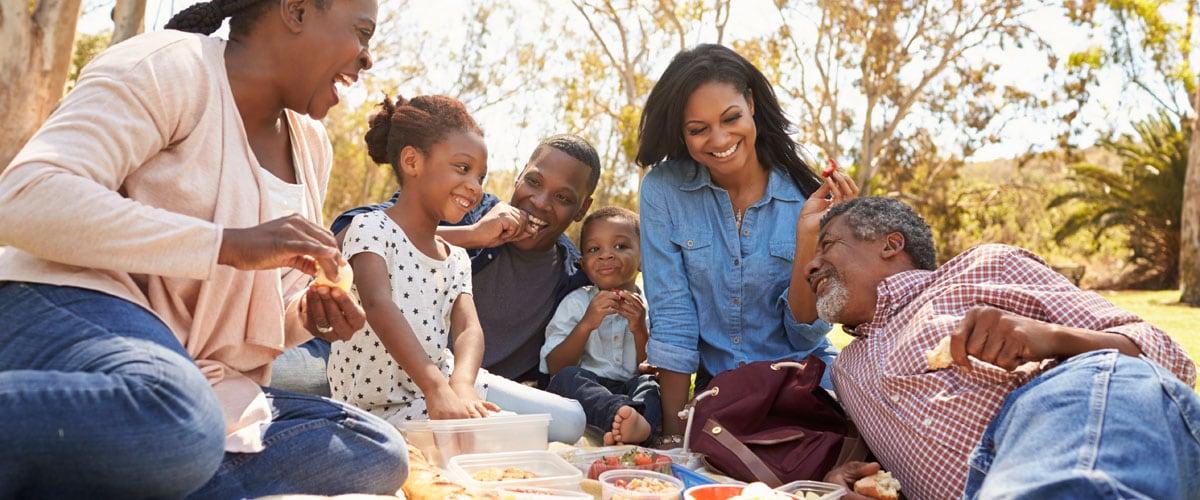 familia multigeneracional disfrutando de un picnic