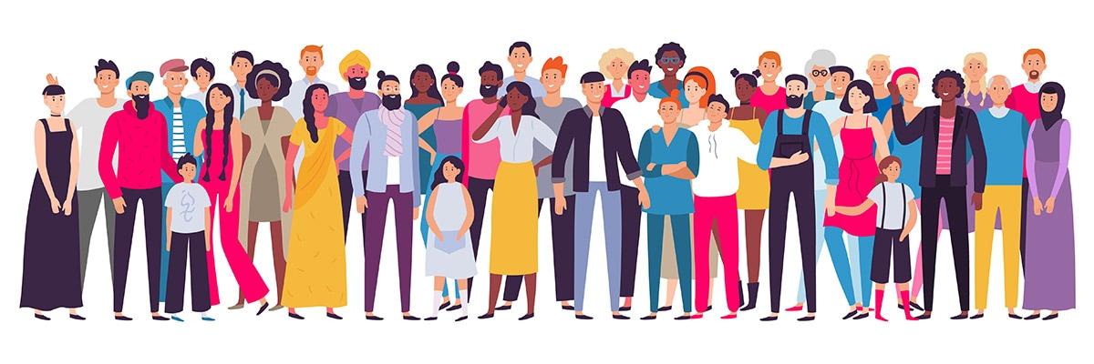 Ilustración de personas de diferentes orígenes étnicos