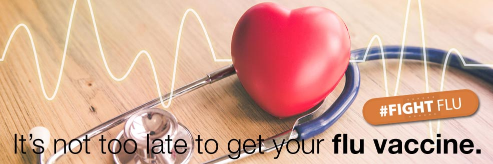 it's not too late to get your Flu vaccine. #fightflu stethoscope with heart
