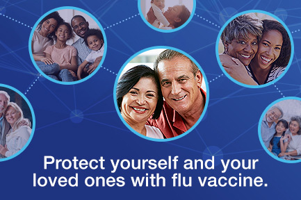 blue graphic with image of couples smiling with the text Protect yourself and your loved ones with flu vaccine.
