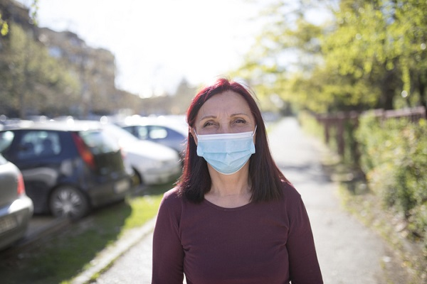 Portrait of senior woman with protective face mask