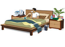 Set up a sick room with items available such as tissues, pitcher with ice, thermometer, and a humidifier. This man in bed has access to many of these items in a separate room.