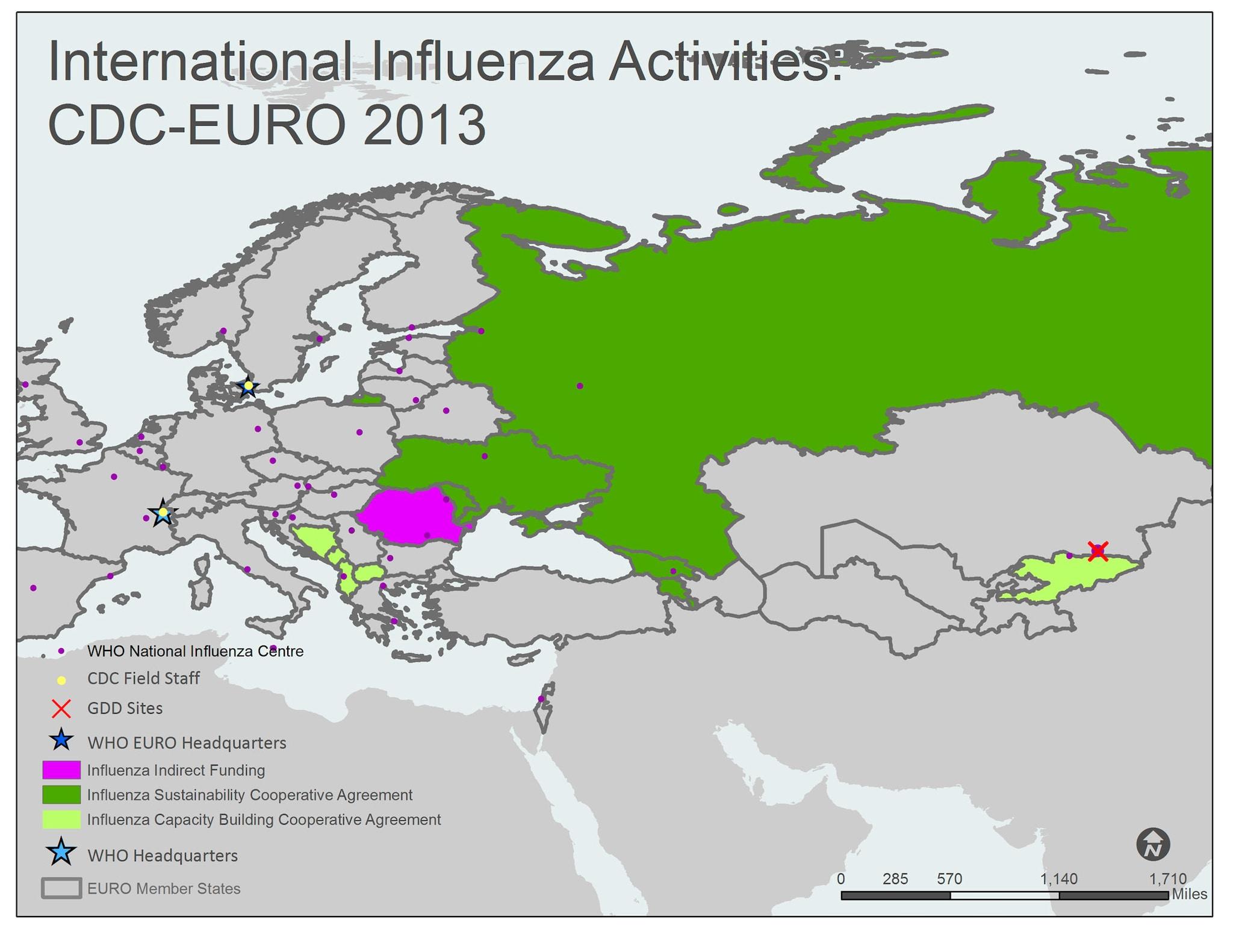 Mapa de la región europea EUR