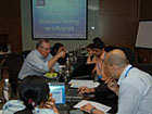 Students and mentors collaborate at the January 2011 writing workshop in Bangkok.
