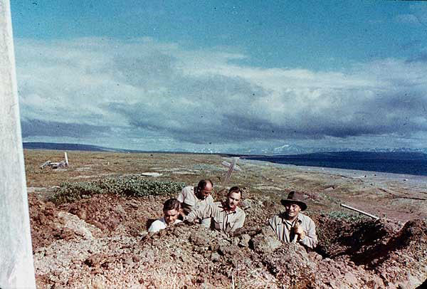 This 1951 photo shows Johan Hultin (on left) and fellow university colleagues during his initial attempt to obtain the 1918 virus from bodies of victims buried in permafrost at the Brevig Mission burial site. Photo credit: Johan Hultin