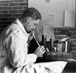 A picture of Johan Hultin working in the laboratory in 1951. Hultin's initial attempt to rescue the 1918 virus was unsuccessful. Note: using one's mouth to draw virus into a pipette is not considered a safe laboratory practice today. Laboratory safety practices have improved significantly in modern times. Photo credit: Johan Hultin.