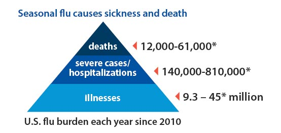 Seasonal flu causes sickness and death deaths 12,000-61,000*, severe cases/hospitalizations 140,000-810,000*,  illnesses 9.3 – 45* million, U.S. flu burden each year since 2010