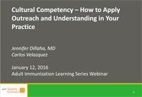 Competencia cultural: cómo aplicar la asistencia social y la comprensión en su práctica. Seminario virtual presentado por Jennifer Dillaha, MD, y Carlos Velasquez