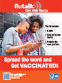 Flutalk, spread the word and get vaccinated. Young African-American man and woman checking mobile devices and talking about flu vaccination.