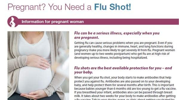 ¿está embarazada? debe recibir la vacuna inyectable contra la influenza