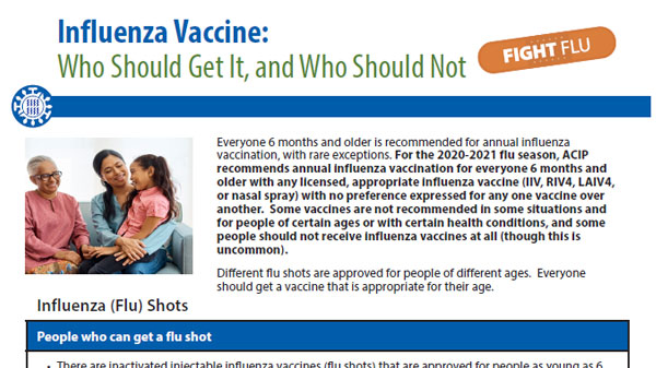 image of pdf Influenza Vaccine: Who Should Get It, and Who Should Not