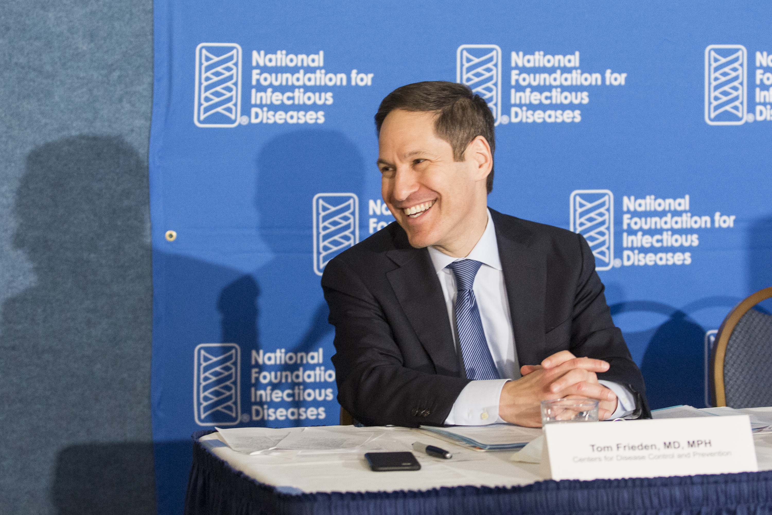 CDC director, Dr. Tom Frieden, leads by example as he gets his flu vaccine at the NFID Annual Influenza/Pneumococcal News Conference.