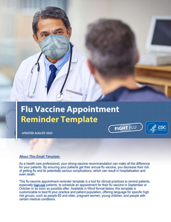 image of health care professional in mask with text Flu Vaccine Appointment Reminder Template