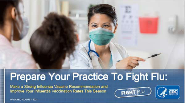 image of health care professional in mask pointing with text Prepare your practice to fight flu