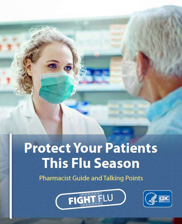 image of health care professional speaking with patient with text Protect Your Patients This Flu Season