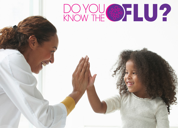 Do you know the flu? slider woman high fiving a child