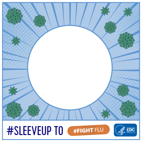 #sleeveup to fight flu social media frame
