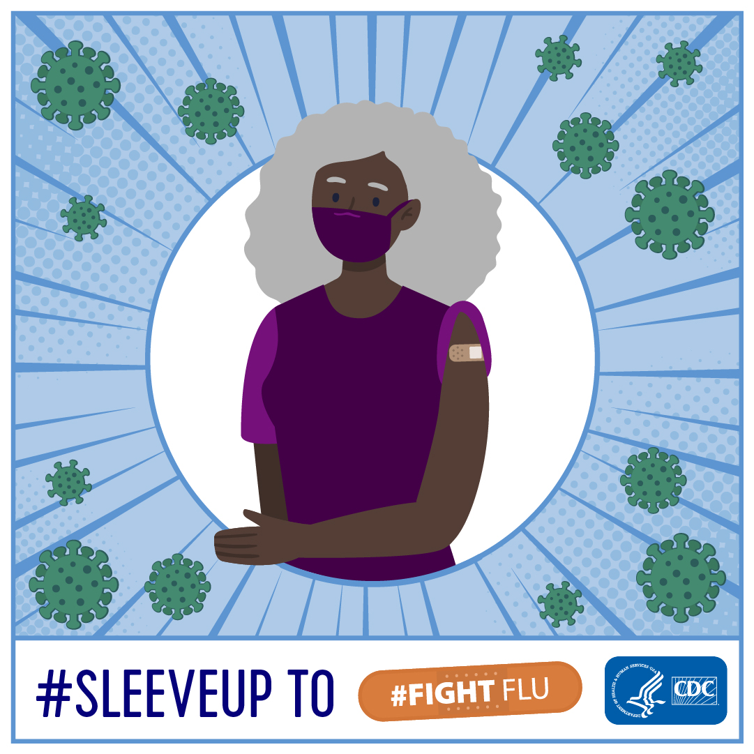 Black older woman graphic - Sleeve Up to Fight Flu