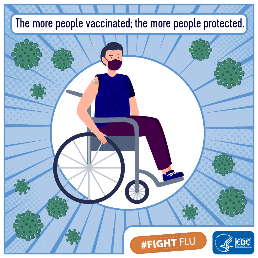 White man in wheelchair graphic - Sleeve Up to Fight Flu