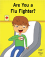 Are You a Flu Fighter? Coloring book drawing of a boy sitting in a doctor's office waiting room.