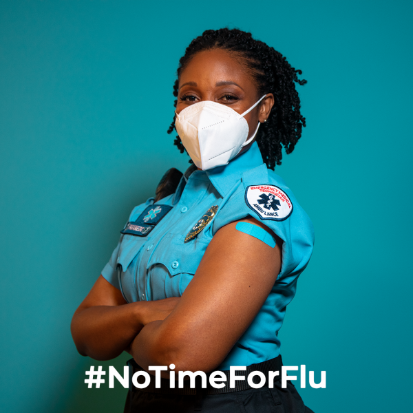 #Notimeforflu woman wearing mask