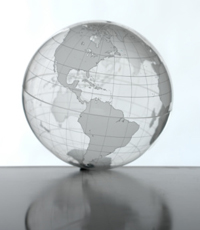 Photo: transparent globe representing the scope of the global estimates used in the CDC study of 2009 H1N1 pandemic mortality.