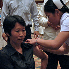 Vaccination occurs directly after the launch ceremony on April 24.