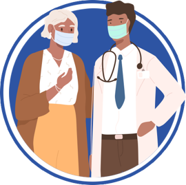 icon of doctor and woman both with masks on