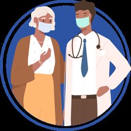 ícono de un médico y una mujer, ambos usando mascarilla