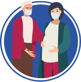 icon of older man and pregnant woman both with masks on