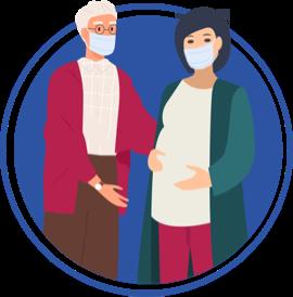 ícono de hombre mayor con una mujer embarazada, ambos usando mascarilla