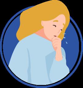 ícono de mujer tosiendo sobre su mano