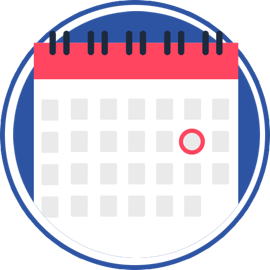 icon of calendar with date circled