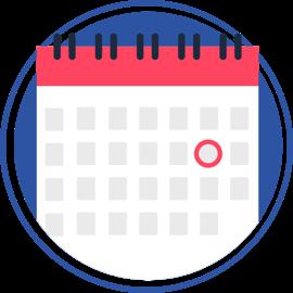 ícono de calendario con un círculo marcando una fecha
