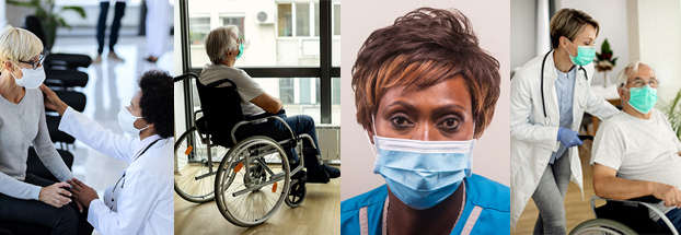 Photos of an influenza virus, senior men and women in long-term care settings, and health care professionals such as nurses and doctors.