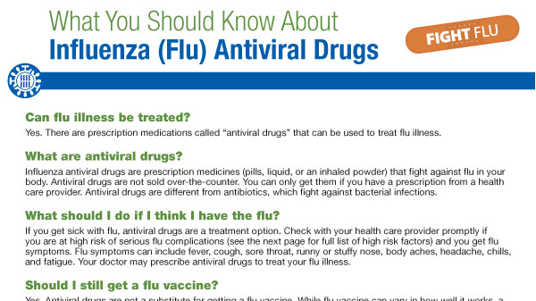 What you should know about influenza (flu) antiviral drugs pdf